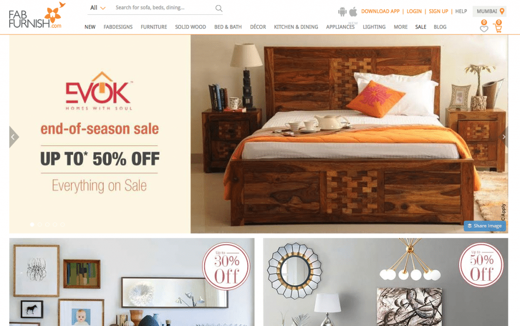 FabFurnish.com's homepage following an acquisition deal from Future Group.